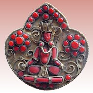 Seated Figure Exotic Faux Coral Vintage Brooch