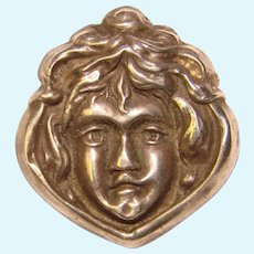Art Nouveau Sterling Front Lady Face Pin Brooch - For Doll or Lapel