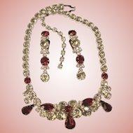 Fabulous EISENBERG Signed Red & Clear Rhinestone Necklace Set