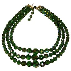 Gorgeous TOURMALINE GREEN Aurora Crystal 3 Strand Vintage Necklace