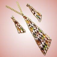 Fabulous GREEN & AMBER Navette Rhinestone Vintage Necklace Set