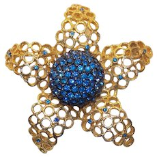 Gorgeous CORO Signed Blue Rhinestone Vintage Brooch