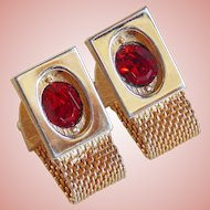 Awesome Red Rhinestone Mesh Wrap Vintage Cufflinks
