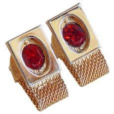 Awesome Red Rhinestone Mesh Wrap Vintage Cufflinks