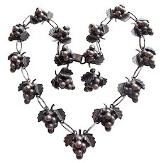 Fabulous MEXICAN STERLING Grapes Vintage Necklace Set - Signed EML - Red Tag Sale Item