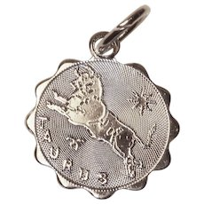 Tiny Sterling Taurus Vintage Estate Charm - Zodiac Astrology