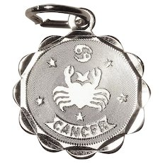 Sterling CANCER Scallop Vintage Estate Charm - Zodiac Astrology