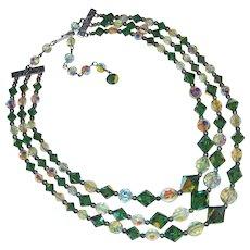 Gorgeous GREEN AURORA Crystal 3 Strand Vintage Necklace