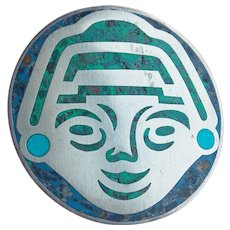 Awesome MEXICAN STERLING & Stone Mosaic Inlay Face Vintage Brooch - Taxco Signed