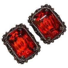 Fabulous Signed KRAMER Large Orange Glass Vintage Clip Earrings