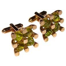 Fabulous Modernist PERIDOT Nugget Stones Vintage Cufflinks