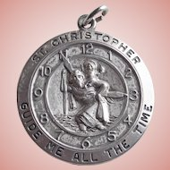 Sterling ST. CHRISTOPHER Clock Design Guide Me All the Time Vintage Pendant Medal or Large Charm - 1 1/8""