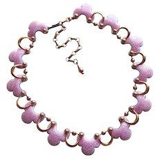 Fabulous MATISSE Speckled Pink Enamel Copper Necklace - Barcarolle - Vintage Estate Signed