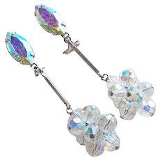 LEWIS SEGAL California Aurora Crystal & Rhinestone Dangle Earrings - Vintage Signed
