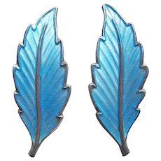 Gorgeous Sterling & Blue Enamel Norway Vintage Earrings - Signed Bernard Meldah
