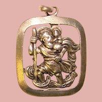 Beautiful ST. CHRISTOPHER 830 Silver Vintage Medal Pendant - Signed