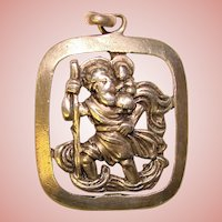 Beautiful ST. CHRISTOPHER 830 Silver Vintage Medal Pendant - Signed