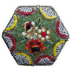 Gorgeous Micro Mosaic Vintage Brooch - Italy Italian