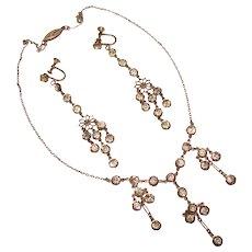 Fabulous ART DECO Sterling Paste Long Dangle Earrings & Necklace
