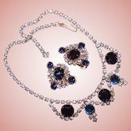Fabulous BLUE Rhinestone Vintage Necklace Set