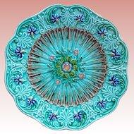 French Majolica Floral Design Antique Plate - Signed Utzschneider & Cie at Sarreguemines France