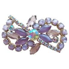 Fabulous Lavender Satin Glass & Aurora Rhinestone Vintage Brooch