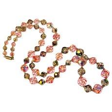 Fabulous PINK AURORA & Dark Rainbow Crystal Vintage Necklace