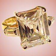 Gorgeous EDCO Faceted Clear Stones Estate Ring