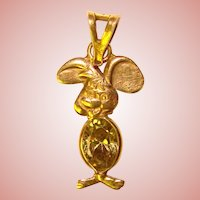 Adorable 14K Gold Italy MOUSE Estate Pendant