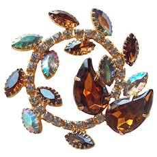 Fabulous Autumn Fall Colors Rhinestone Vintage Brooch - Brown Aurora Smoke