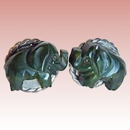 Fabulous Figural CARVED BAKELITE Elephant Green Vintage Earrings