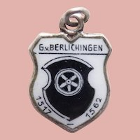 Vintage 800 Silver & Enamel BERLICHINGEN Estate Charm - Travel Souvenir of Germany