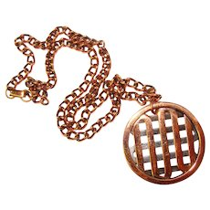 Awesome MATISSE Signed Copper Modernist Pendant Necklace