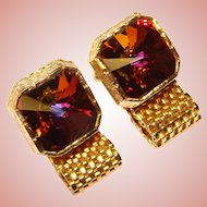 Awesome Vintage SQUARE WATERMELON RIVOLI Rhinestone Mesh Wrap Cufflinks