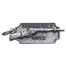 Sterling SPRINGFIELD RIFLE Vintage Charm - Souvenir of Massachusetts