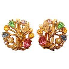 Gorgeous Colored RHINESTONE Vintage Earrings - Signed