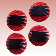 Art Deco Carved Laminated Red & Black Celluloid Vintage Estate Buttons - Early Plastic
