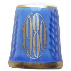 1980 Wheat Porcelain Vintage Estate Thimble - Denmark Signed Bing & Grondahl