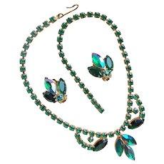 Gorgeous Green & Green Aurora Rhinestone Vintage Necklace Set