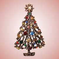 Gorgeous Rhinestone CHRISTMAS TREE Vintage Brooch