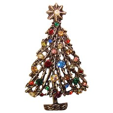 Gorgeous Rhinestone CHRISTMAS TREE Vintage Brooch