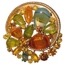 Fabulous ART Signed Fall Color Glass & Rhinestone Brooch
