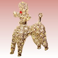 Super Cute Vintage RHINESTONE POODLE Estate Brooch