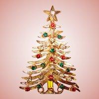Gorgeous CHRISTMAS TREE Vintage Red & Green Rhinestone Brooch