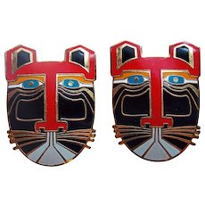 Awesome LAUREL BURCH Enamel Cat Pierced Earrings - Miikio - Signed