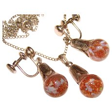 Fabulous FLOATING OPAL & Goldstone Vintage Sterling Necklace & Earrings