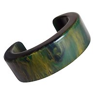 Gorgeous BAKELITE End of Day Green Amber Vintage Bracelet - Chunky Cuff - Red Tag Sale Item