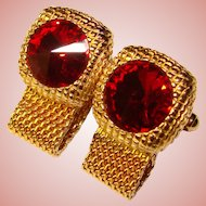 Awesome Red Rivoli Rhinestone Mesh Wrap Vintage Cufflinks