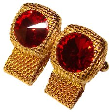 Awesome Red Rivoli Rhinestone Mesh Wrap Vintage Cufflinks