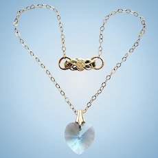 Doll Necklace - with Tiny Vintage Blue Glass Crystal Heart Pendant